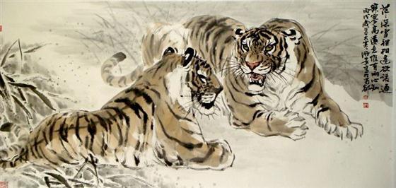 壁纸 动物 国画 虎 老虎 桌面 560_266